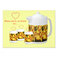 SOCIAL TEA INVITATION-YELLOW ORCHIDS CARD