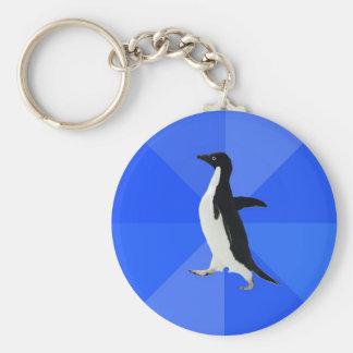 Social-Torpe-Pingüino-Meme Llavero Redondo Tipo Pin