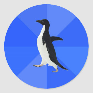 Social-Torpe-Pingüino-Meme Pegatina Redonda