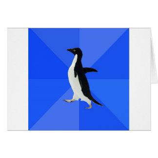Social-Torpe-Pingüino-Meme Tarjeta De Felicitación