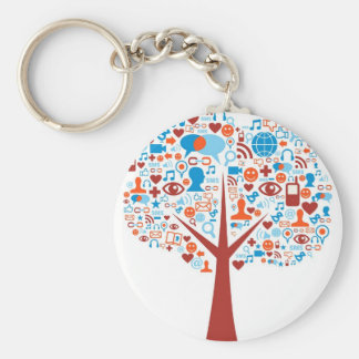 Social Tree shape Basic Round Button Keychain