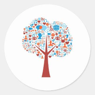 Social Tree shape Classic Round Sticker