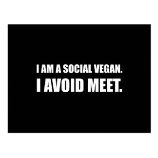 Social Vegan Avoid Meet Postcard