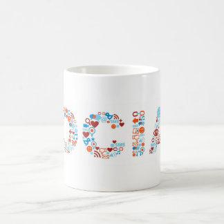 Social word shape coffee mug