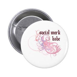 Social Work Babe Pinback Button