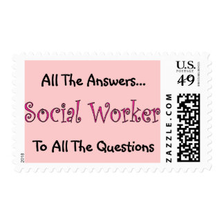 """Social Worker """"All The Answers"""" Postage Stamp"""