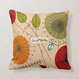 Social Worker Artsy Floral Throw Pillow