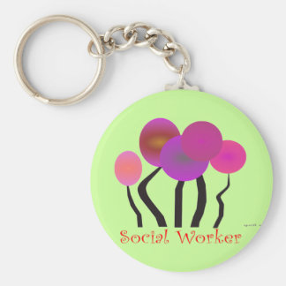 Social Worker Artsy Tree Design Gifts Basic Round Button Keychain