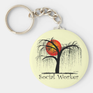 Social Worker Artsy Tree Gifts Basic Round Button Keychain