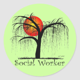 Social Worker Artsy Tree Gifts Classic Round Sticker