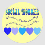 Social Worker BLUE HEARTS Classic Round Sticker