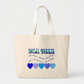 Social Worker BLUE HEARTS Large Tote Bag