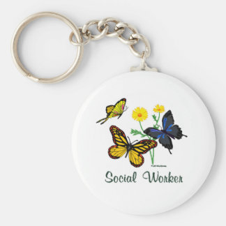 Social Worker Butterflies Basic Round Button Keychain