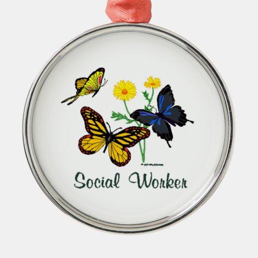 Social Worker Butterflies Round Metal Christmas Ornament