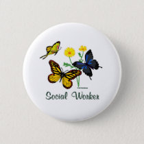 Social Worker Butterflies Pinback Button