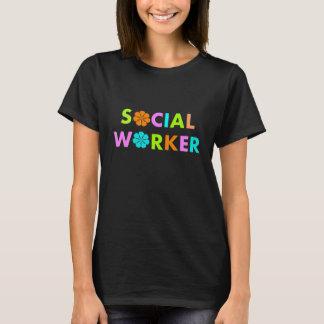 Social Worker Citrus Retro Flowers T-Shirts