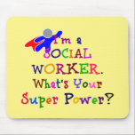 "Social Worker Colorful Design Mouse Pad<br><div class=""desc"">Social Worker Superhero custom-designed mouse pad.</div>"