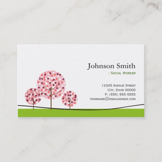 Social worker cute pink wishing tree logo business card zazzle social worker cute pink wishing tree logo business card colourmoves