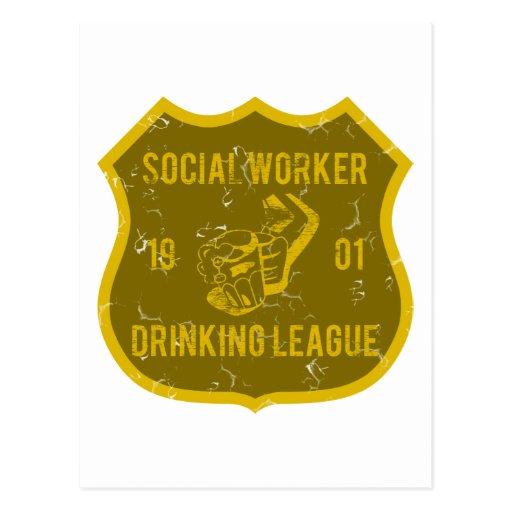 Social Worker Drinking League Postcard
