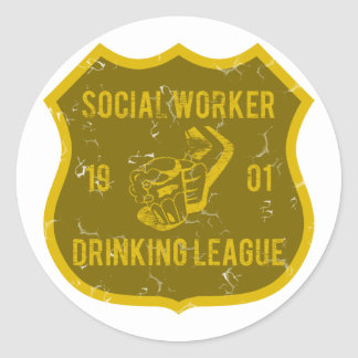 Social Worker Drinking League Classic Round Sticker