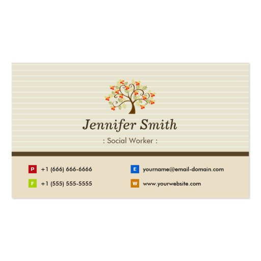 Social Worker - Elegant Tree Symbol Business Card Template