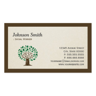Social Worker - Elegant Tree Symbol Double-Sided Standard Business Cards (Pack Of 100)