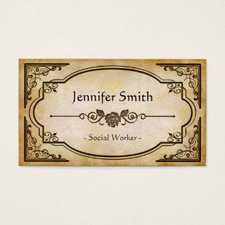 Social Worker - Elegant Vintage Antique Business Card
