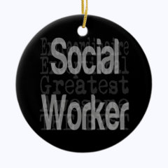 Social Worker Extraordinaire Double-Sided Ceramic Round Christmas Ornament