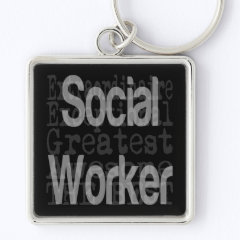 Social Worker Extraordinaire Silver-Colored Square Keychain