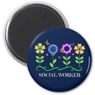 Social Worker...Flowers, Hearts, and Butterflies 2 Inch Round Magnet