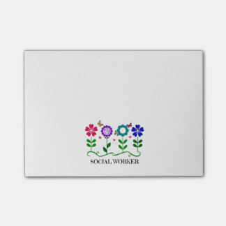 Social Worker...Flowers, Hearts, and Butterflies Post-it® Notes