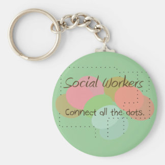 """Social Worker Gifts """"Connect All The Dots"""" Keychain"""
