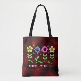 Social Worker, Graphic Floral Design Tote Bag