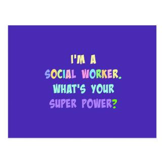 Social Worker Humor, Pastel Lettering, Blue Indigo Postcard