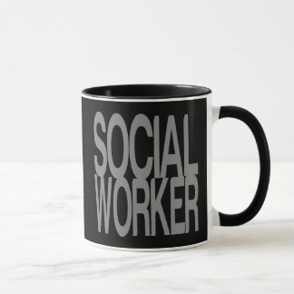 Social Worker in Tall Silver Text Mug