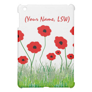 Social Worker iPad Case Red Poppies  Design