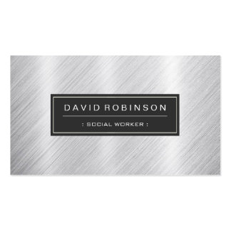 Social Worker - Modern Brushed Metal Look Double-Sided Standard Business Cards (Pack Of 100)