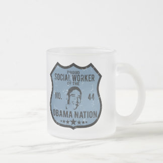 Social Worker Obama Nation Frosted Glass Coffee Mug