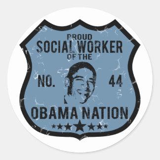 Social Worker Obama Nation Classic Round Sticker