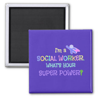 Social Worker, Pastel Text Funky Design Magnet
