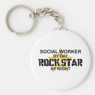 Social Worker Rock Star by Night Keychain