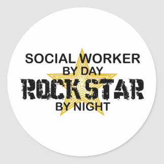 Social Worker Rock Star by Night Classic Round Sticker