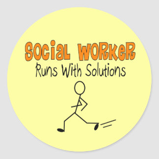 "Social Worker ""Runs with Solutions"" Funny Gifts Classic Round Sticker"