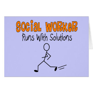 """Social Worker """"Runs with Solutions"""" Funny Gifts Greeting Card"""