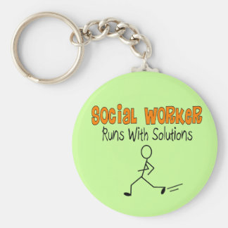 "Social Worker ""Runs with Solutions"" Funny Gifts Keychain"