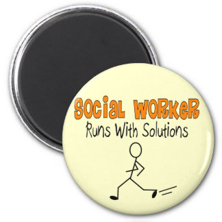 "Social Worker ""Runs with Solutions"" Funny Gifts Magnet"