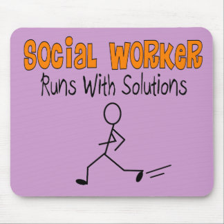 """Social Worker """"Runs with Solutions"""" Funny Gifts Mouse Pad"""