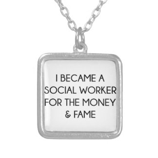 Social Worker Silver Plated Necklace