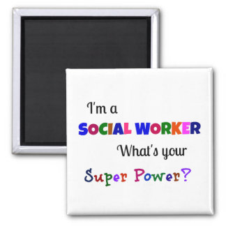 Social Worker Super Power 2 Inch Square Magnet