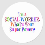Social Worker Superhero, Colorful Text Classic Round Sticker